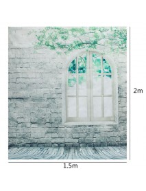 1.5 x 2m Brick Wall Window Floor Studio Vinyl Photography Backdrop Photo Background