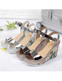 Women Flower Printing Wedges Buckle Ankle Strap Sandals