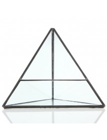15cm Triangle Greenhouse Glass Terrarium DIY Micro Landscape Succulent Plants Flower Pot