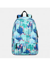 Cactus Pattern School Bookbag Laptop Backpack Rucksack Daypack