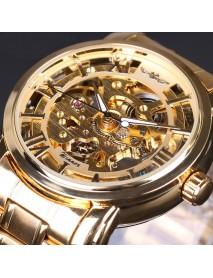 028 Full Steel Strap Men Watch Skeleton Self-Wind Mechanical Wrist Watch