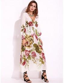 Sexy Women Deep V-Neck Flower Print Bishop Sleeve Long Sleeve Maxi Dress
