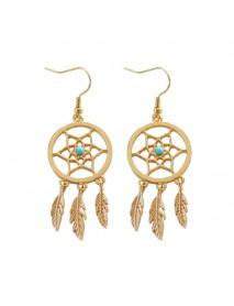 Bohemia Dreamcatcher Feather Charm Earrings Women Gold Colors Leaf Hollow Earrings