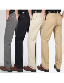 Men's Casual Cotton Pants Summer Solid Color Thin Straight Loose Middle-aged Pants
