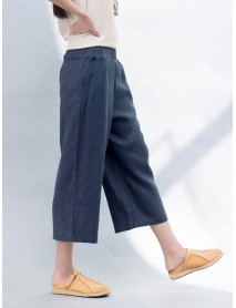 Casual Pure Color Elastic Waist Trousers for Women