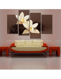 2X40CM 2X60CM Brown Orchid Floral Canvas Print Pictures Paintings Decor Unframed