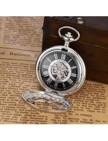 OUYAWEI P08 Classic Mechanical Pocket Watches Roman Numeraals Dial Men Retro Pendant Pocket Watch