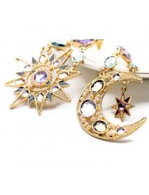 Bohemian Goddess Moon Sun Ear Drop Earring Gold Rhinestone Earring For Women