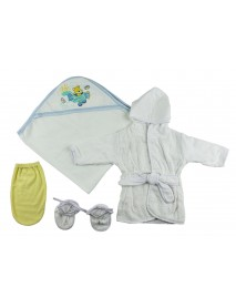 Boys Infant Robe, Hooded Towel and Washcloth Mitt - 3 Pc Set