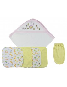 Pink Hooded Towel, Washcloths and Hand Washcloth Mitt - 6 Pc Set