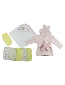 Pink Infant Robe, Hooded Towel, Washcloths and Hand Washcloth Mitt - 7 Pc Set
