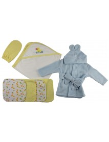 Blue Infant Robe, Yellow Hooded Towel, Washcloths and Hand Washcloth Mitt - 7 Pc Set