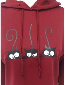 Cartoon Cat Print Hooded Plus Size Women Sweatshirt
