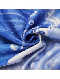 3PCS 200 x 230cm 3D Blue Rose Printed Bedding Pillowcase Quilt Cover Bedding Sets Queen Size
