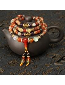 Vintage Natural Colorful Crystal Quartz Beads Bracelet Ethnic Buddhist Prayer Beads Bracelets
