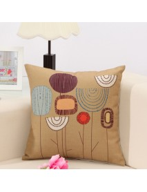 Concise Style Flower Pattern Decoration Cushion Cover Square Linen Pillow Case