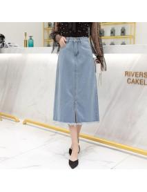 9619# Large Size New A Word Skirt Half Length Skirt Denim Long Skirt Denim Skirt
