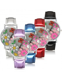 Fashion Flower Flash Powder PU Leather Band Analog Quartz Girls Women Watch