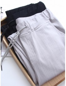 Bamboo Cotton Women Pants Loose Waist Belt Harem Feet Pants