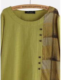 Button Plaid Patchwork Long Sleeve Plus Size Cotton Blouse