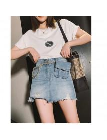 New High Waist Denim Shorts Female A Word Skirt Furry Pocket Short Skirt Hole Bag Hip Skirt Wild