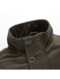 Mens Plus Size S-4XL Stand Collar Cotton Casual Military Jacket