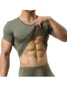 Men's Sports Primer Sexy Tops Pure Color Elastic Bodybuilding Comfortable Wear T-shirt