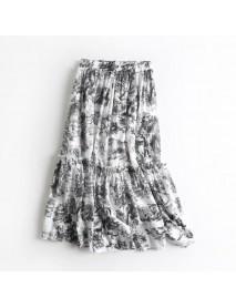 D1287-women's Season New Elastic Waist Retro Print Ruffled Big Swing Skirt