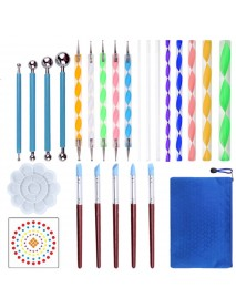 25Pcs Dotting Painting Tools with Mandala Set Pen Dotting Stencil Kit Ball Stylus Clay Sculpting Carving Tools for Clay Pottery Craft Painting Rocks Coloring Art Drawing