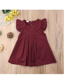 Girls Baby Children Solid Pleated Dress