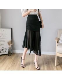 Season New Long Section Splicing Mesh High Waist Slim Slimming Temperament Irregular Skirt