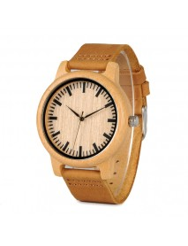 BOBO BIRD WA16 Simple Design Wooden Watch Genuine Leather Strap Unisex Quartz Watch