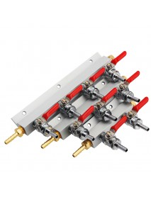 4 Way CO2 Gas Distribution Block Manifold With 7mm Hose Barb Wine Making Tools Draft Beer Dispense