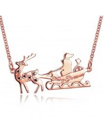 INALIS Women's Sweet Christmas Gift Santa in Sleigh Reindeer Zircon Necklace
