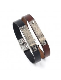 Vintage Unisex Genuine Leather Wristband Bangle Cross Bible Bracelets