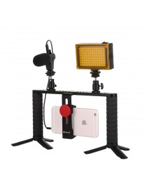 Puluz PKT3024 4 in 1 Video Rig Stabilizer Grip Microphone Video Light Tripod for Mobile Phone
