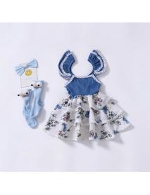 Girls Baby Print Lace Vest Layer Dress