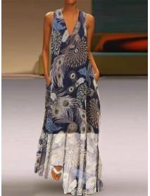 Bohemian Sleeveless V-neck Pocket Floral Print Maxi Dress