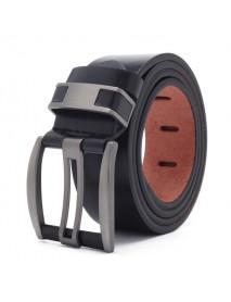 108CM Business Alloy Buckle Leather Belt Plain Adjustable Waistband for Men