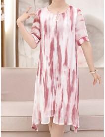 Elegant Women Fake Two Pieces Painted Chiffon Dress