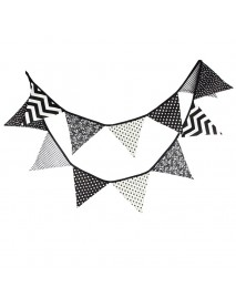 Black and White Cotton Fabric Bunting Flags Banner Baby Shower Outdoor Tent Decoration Shooting Tool