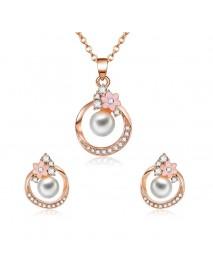 Elegant Bridal Wedding Women Pearl Jewelry Set Rose Gold Rhinestone Flower Necklaces Stud Earrings