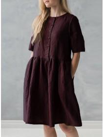 S-5XL Vintage O-Neck Short Sleeve Button Pockets Cotton Linen Mini Dress