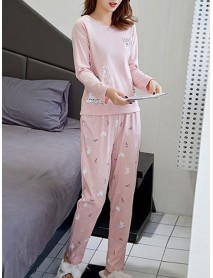 6 Patterns Women Stripe Round Neck Long Sleeve Two Piece Home Loose Pajama Set