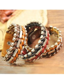 Retro Alloy Leather Hand Woven Bangle Geometry Multicolor Bracelet for Men Women