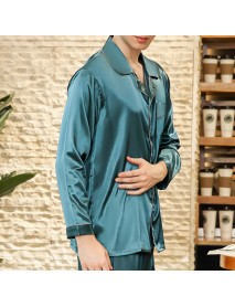 Imitation Silk Spring Summer Soft Comfy Lounge Home Sleepwear Pajamas Suit for Men