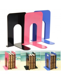 3 Color One Pair L-Shaped Anti Skid Bookends Metal Shelf Bookcase Holder