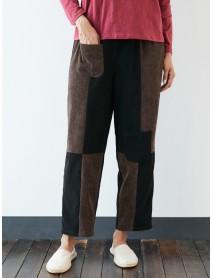 Corduroy Patchwork Pocket Plus Size Pants
