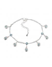 JASSY Fine Anklet Platinum Plated Lake Blue Rhinestone New Fashion Bracelet Jewelry for Women