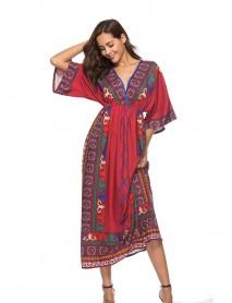 Bohemia Ethnic Style V-neck High Waist Beach Holiday Maxi Dress